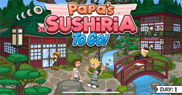 Become a sushi chef in Papa's Sushiria